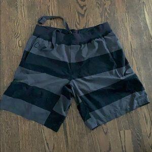 Lululemon black/grey stripped draw string shorts